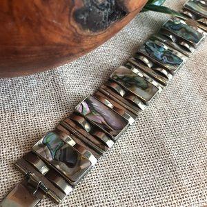 Vintage Mexico Sterling Abalone Link Bracelet
